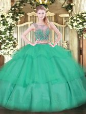 Turquoise Sleeveless Tulle Lace Up Quinceanera Dresses for Military Ball and Sweet 16 and Quinceanera