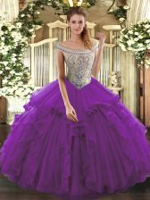Tulle Sleeveless Floor Length Quinceanera Dress and Beading and Ruffles