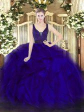 Floor Length Blue Ball Gown Prom Dress Organza Sleeveless Beading and Ruffles