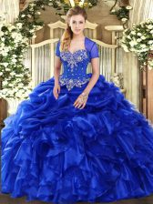Dynamic Royal Blue Sleeveless Organza Lace Up Sweet 16 Dress for Military Ball and Sweet 16 and Quinceanera
