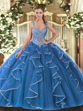 Spectacular Blue V-neck Lace Up Beading and Ruffles Quince Ball Gowns Sleeveless