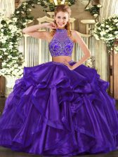 Sleeveless Beading and Ruffled Layers Criss Cross Sweet 16 Dress