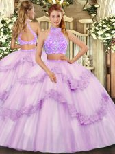 Floor Length Criss Cross Quinceanera Gown Lavender for Military Ball and Sweet 16 and Quinceanera and Wedding Party with Beading and Lace and Ruffles