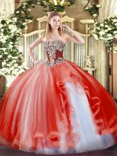 Excellent Coral Red Sleeveless Tulle Lace Up Vestidos de Quinceanera for Military Ball and Sweet 16 and Quinceanera