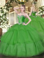 Green Sleeveless Tulle Lace Up Sweet 16 Dress for Military Ball and Sweet 16 and Quinceanera