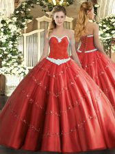 Floor Length Lace Up Quince Ball Gowns Coral Red for Military Ball and Sweet 16 and Quinceanera with Appliques