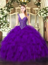 Elegant Purple Sleeveless Organza Lace Up Ball Gown Prom Dress for Military Ball and Sweet 16 and Quinceanera