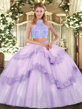 Hot Selling Tulle Halter Top Sleeveless Lace Up Beading and Appliques and Ruffles Sweet 16 Dresses in Lavender