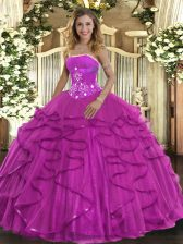 Noble Strapless Sleeveless Lace Up Quinceanera Gowns Fuchsia Tulle