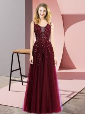 Wonderful Burgundy Sleeveless Beading and Appliques Floor Length Prom Party Dress