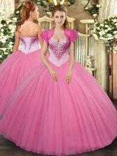 Fabulous Beading Sweet 16 Dresses Rose Pink Lace Up Sleeveless Floor Length