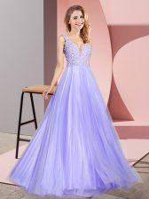 Lavender A-line Lace Prom Dresses Zipper Tulle Sleeveless Floor Length