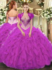 Most Popular Sweetheart Sleeveless Ball Gown Prom Dress Floor Length Beading and Ruffles Fuchsia Organza