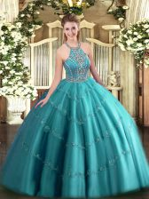 Teal Sweet 16 Dress Military Ball and Sweet 16 and Quinceanera with Beading and Appliques Halter Top Sleeveless Lace Up