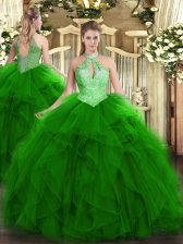 Green Sweet 16 Dress Military Ball and Sweet 16 and Quinceanera with Ruffles and Sequins Halter Top Sleeveless Lace Up