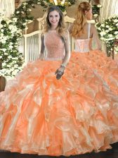 Orange Red Organza Lace Up High-neck Sleeveless Floor Length Quince Ball Gowns Beading and Ruffles