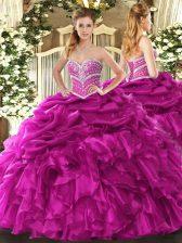 Sweetheart Sleeveless Vestidos de Quinceanera Floor Length Beading and Ruffles and Pick Ups Fuchsia Organza