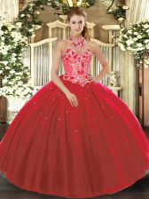 Red Tulle Lace Up 15th Birthday Dress Sleeveless Floor Length Embroidery