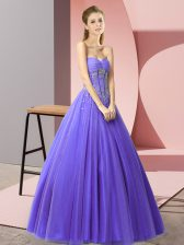 Lavender Tulle Lace Up Prom Dresses Sleeveless Floor Length Beading