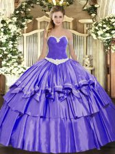 Customized Appliques and Ruffled Layers Quince Ball Gowns Lavender Lace Up Sleeveless Floor Length