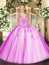 Affordable Tulle V-neck Sleeveless Lace Up Beading 15th Birthday Dress in Lilac