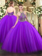 Elegant Purple Ball Gowns Tulle Halter Top Sleeveless Beading Floor Length Lace Up Sweet 16 Dresses