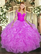 New Style Scoop Long Sleeves Organza Quinceanera Dresses Lace and Ruffles Lace Up
