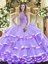 Sleeveless Lace Up Floor Length Beading and Ruffled Layers 15 Quinceanera Dress