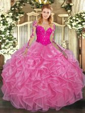 Excellent Rose Pink Scoop Neckline Lace and Ruffles Quince Ball Gowns Long Sleeves Lace Up