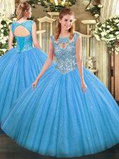 Customized Tulle Sleeveless Floor Length 15th Birthday Dress and Beading