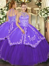 Romantic Sleeveless Lace Up Floor Length Beading and Embroidery Sweet 16 Dresses