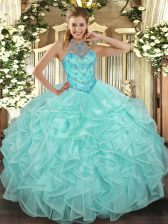 New Arrival Apple Green Lace Up Quinceanera Dress Beading and Ruffles Sleeveless Floor Length