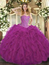 Fuchsia Tulle Lace Up Sweetheart Sleeveless Floor Length Sweet 16 Dress Beading and Ruffles