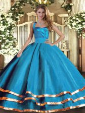 Baby Blue Ball Gowns Tulle Halter Top Sleeveless Ruffled Layers Floor Length Lace Up Sweet 16 Quinceanera Dress