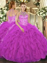 Sumptuous Organza Halter Top Sleeveless Lace Up Beading and Embroidery and Ruffles Sweet 16 Quinceanera Dress in Fuchsia