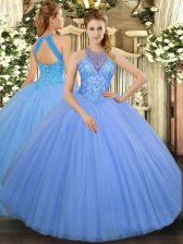 Decent High-neck Sleeveless Tulle Quinceanera Dress Beading Lace Up