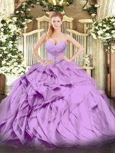 Fancy Floor Length Ball Gowns Sleeveless Lavender Quince Ball Gowns Lace Up