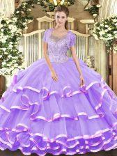 Sleeveless Beading and Ruffled Layers Lace Up Sweet 16 Dress