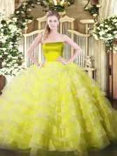 Pretty Yellow Ball Gowns Ruffled Layers 15 Quinceanera Dress Zipper Tulle Sleeveless Floor Length