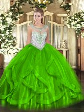 Tulle Zipper 15 Quinceanera Dress Sleeveless Floor Length Beading and Ruffles