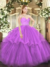 Hot Selling Sleeveless Brush Train Zipper Beading and Lace and Ruffled Layers 15 Quinceanera Dress