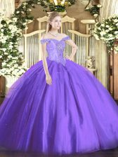 Lavender Ball Gowns Tulle Off The Shoulder Sleeveless Beading Floor Length Lace Up 15th Birthday Dress