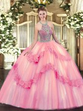 Baby Pink Lace Up Halter Top Beading and Appliques 15 Quinceanera Dress Tulle Sleeveless