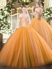Free and Easy Orange Sleeveless Beading Floor Length Quinceanera Dresses