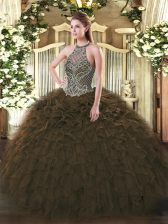 Dazzling Olive Green Lace Up 15 Quinceanera Dress Beading and Ruffles Sleeveless Floor Length