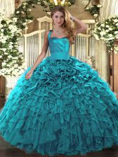 Ball Gowns Ball Gown Prom Dress Teal Halter Top Organza Sleeveless Floor Length Lace Up