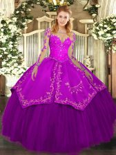 Ideal Purple Lace Up Scoop Lace and Embroidery 15th Birthday Dress Organza and Taffeta Long Sleeves