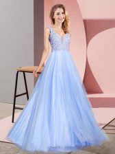 V-neck Sleeveless Zipper Homecoming Dress Light Blue Tulle