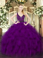 Delicate Purple Organza Zipper Straps Sleeveless Floor Length 15 Quinceanera Dress Beading and Ruffles