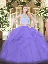 Floor Length Lavender Quinceanera Gowns Scoop Sleeveless Zipper